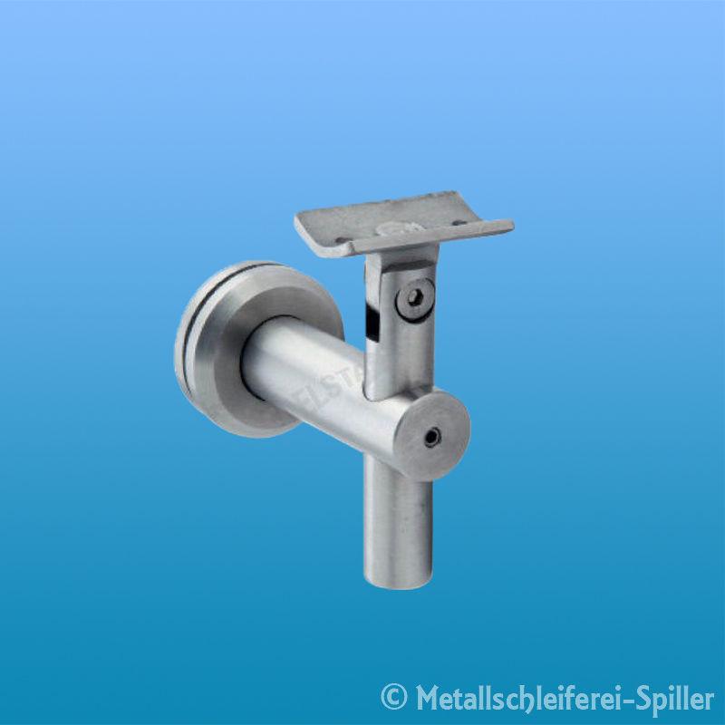 Edelstahl Handlaufträger für Glas//Blech m Anschlussplatte Inox Träger