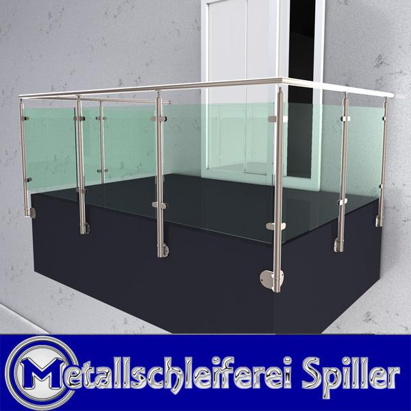 Edelstahl U Gelander Balkon Handlauf Glashalter Vorgesetzte Montage